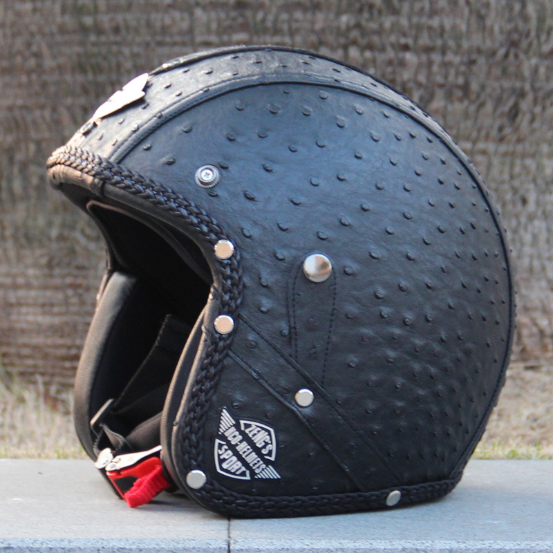 Vintage PU leather motorcycle helmet for harley davidson moto crusie helmet DOT approved handcraft open face retro helmets