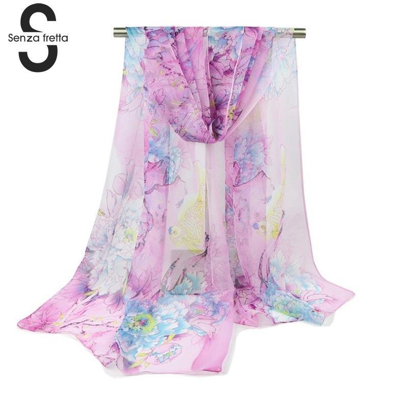 Элегантный Для женщин шифон шарфы Мода с цветочным принтом Для женщин шарф пляжный отдых защиты от солнца шарфы Для женщин длинные Обёрточн...