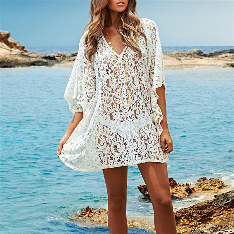 Women Bikini Cover Up Lace V-neck Hollow Crochet Swimsuit Swimwear Beach Dress