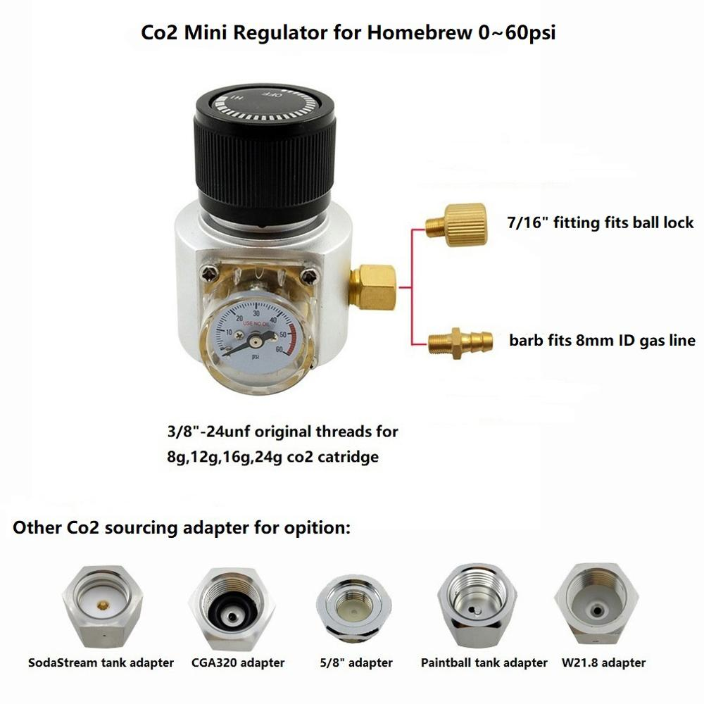 Co2 Mini Gas Regulator,Sodastream,Paintball,,CGA320,W21.8 Tank,Disposable Cartridge Adapter for Homebrew Cornelius/Corny 0~60psiCo2 Mini Gas Regulator,Sodastream,Paintball,,CGA320,W21.8 Tank,Disposable Cartridge Adapter for Homebrew Cornelius/Corny 0~60psi