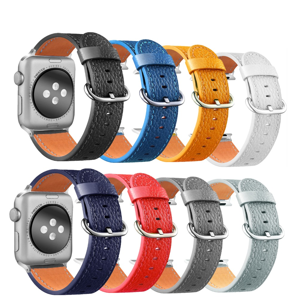 8 Color Litchi Leather Watch Strap For Apple Watch Band 42mm 38mm for iWatch 4 40mm 44mm Watchband for Apple watch Series 1&2&38 Color Litchi Leather Watch Strap For Apple Watch Band 42mm 38mm for iWatch 4 40mm 44mm Watchband for Apple watch Series 1&2&3