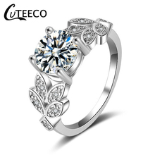все цены на CUTEECO Crystal Silver Rose Gold Color Brand Ring Female Sparkling Zircon Wedding Rings For Women Jewelry Engagement Ring онлайн
