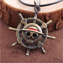 2015 Vintage Anime One Piece Luffy Skull Pendant Necklace Hot Rope Chain Famous Gift
