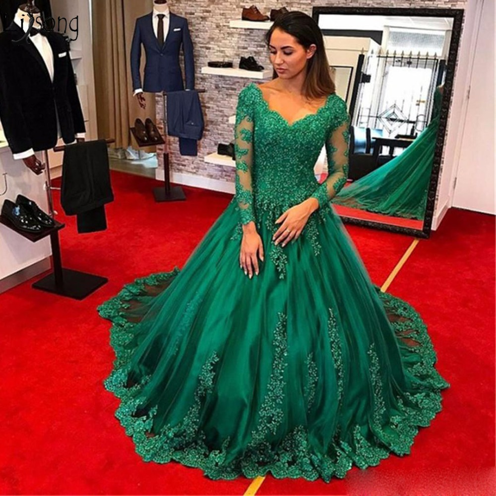 Emerald Green Long Prom Dresses Evening Wear 2019 Long Sleeve Lace Applique Beads Plus Size Formal