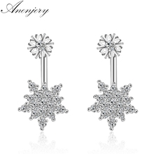 Anenjery Delicate Dazzling Micro CZ Snowflake Stud Earrings Silver Color Zircon Earrings For Women S-E639