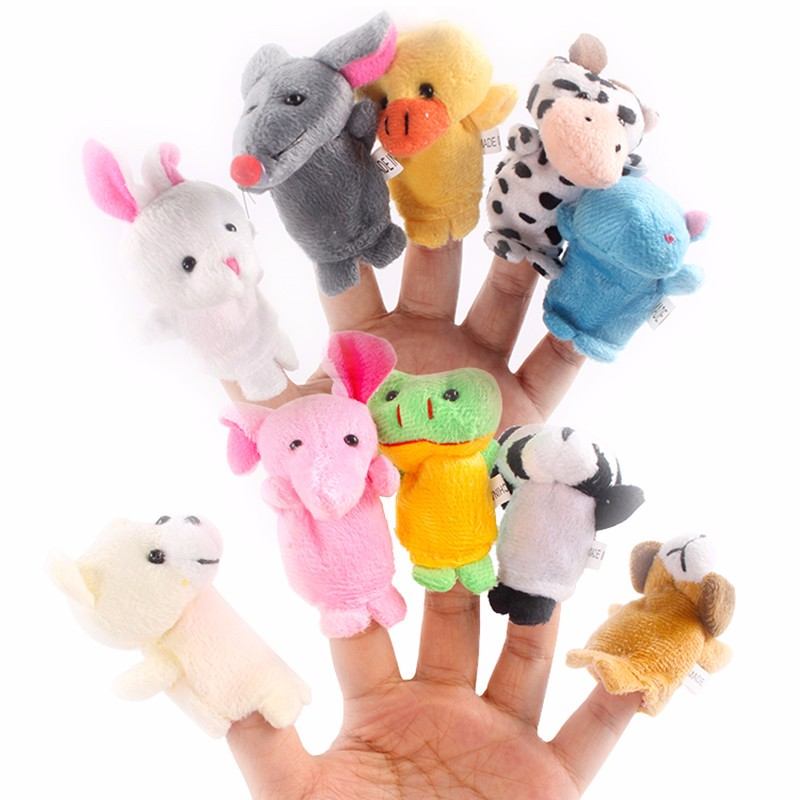 10pcs Farm Zoo Animal Finger Puppets Toys Boys Girls Kids Cloth Doll Baby Educational Hand Toy Gift Baby Playpens