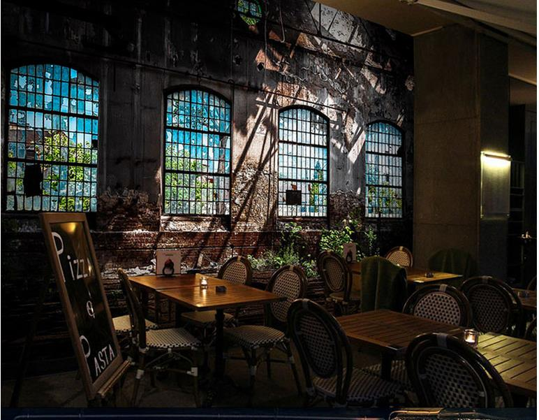 customize 3d photo mural wallpaper Artistic Industrial Wind Broken Windows Bar walls wallpapers for living room custom european style wallpapers little angel fresco wallpaper for walls 3d hotel greek mythology mural western photo wallpapers