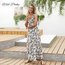 WildPinky 2019 Summer Long Dress Floral Print Boho Beach V-neck Maxi Women Evening Party Sundress Vestidos