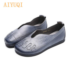 AIYUQI Shoes women flat 2019 new 100% genuine leather casual shoes retro slip on loafers mom