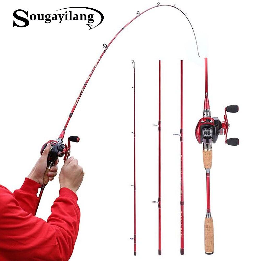 Sougayilang leurre cannes à pêche et moulinets coulée canne à pêche et 13BB appât moulage moulinets canne Combo