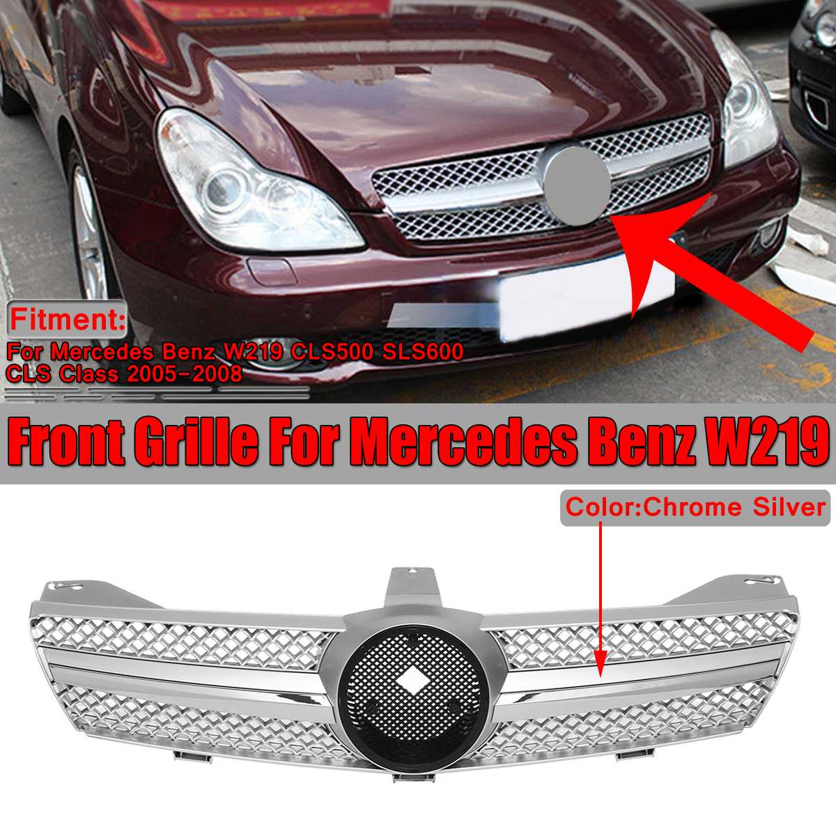 Chrome Silver Grille Car Front Grille Bumper Grill For Mercedes For Benz W219 CLS500 SLS600 CLS Class 2005-2008 Without EmblemChrome Silver Grille Car Front Grille Bumper Grill For Mercedes For Benz W219 CLS500 SLS600 CLS Class 2005-2008 Without Emblem