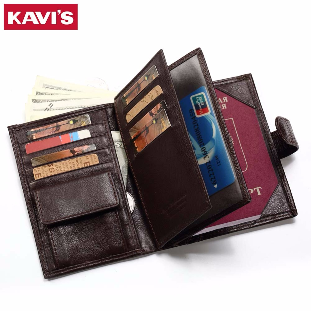KAVIS hombres Cartera de cuero genuino pasaporte monedero Rfid magia cartera hombre Portomonee Mini Vallet pasaporte cubierta