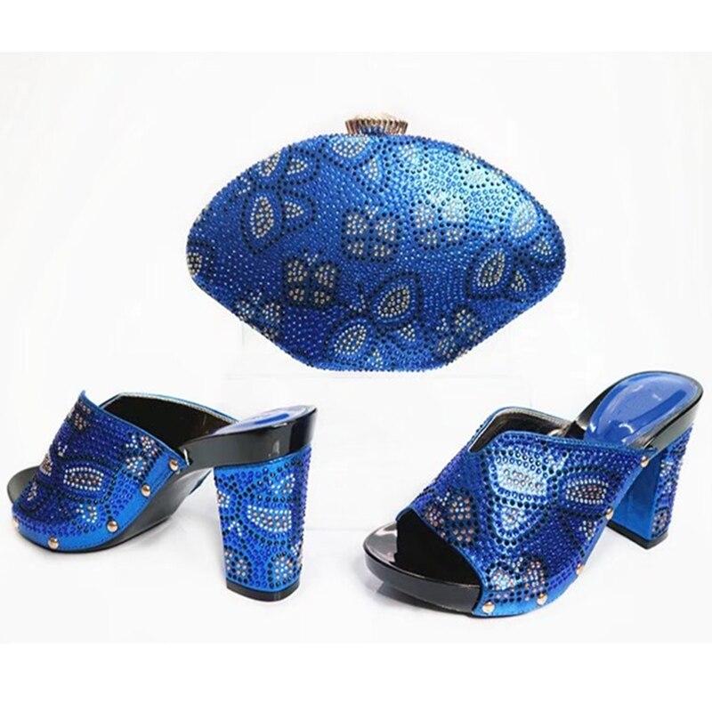 Femmes Chaussures Avec Sac Qualité Fuchsia Ensemble or Et Italie argent Africaines pourpre Bleu Haute Strass Décoré En Mis Couleur fuchsia Assorties 5pqwP0