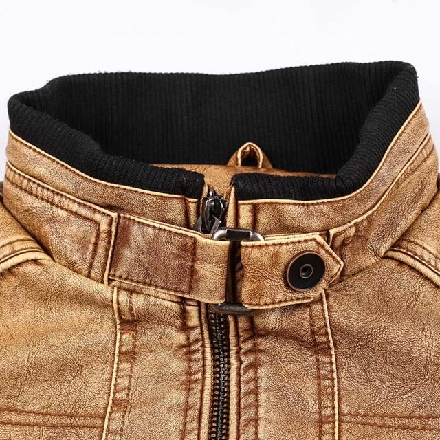 LetsKeep Mens PU Leather Moto jacket men Vintage Autumn Jackets Coat Stand Collar Windbreaker Jacket Plus size XL-5XL , MA496
