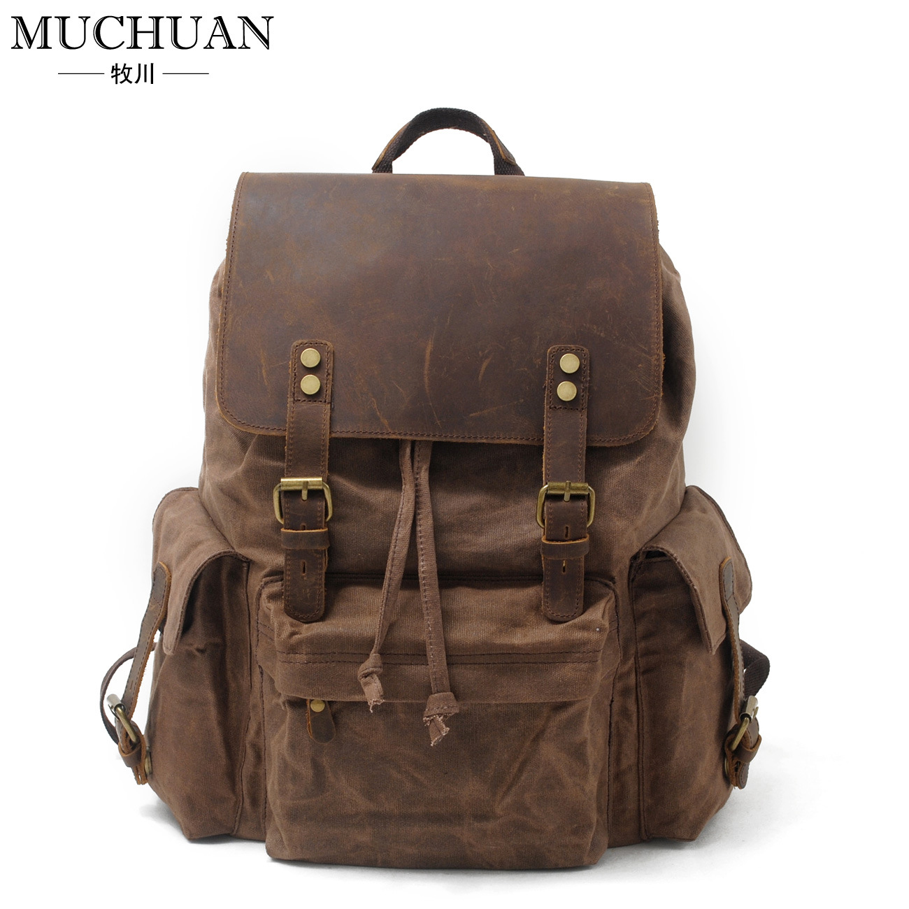 Canvas bag with leather male backpack bag high-capacity package backpack male classic microfiber leather backpack