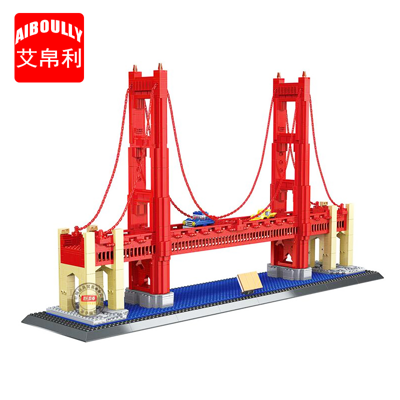 AIBOULLY NEW 8023 1977Pcs Street View Series Golden Gate Bridge Model Building Blocks set Bricks Children For Toys GiftsAIBOULLY NEW 8023 1977Pcs Street View Series Golden Gate Bridge Model Building Blocks set Bricks Children For Toys Gifts
