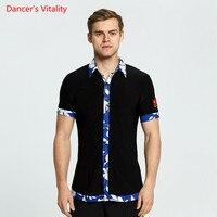 New Style Short Sleeves Ballroom Dance Tops Waltze GB Latin Dance Tops Salsa Tango Samba Latin Mens Shirts Boys Dancewear