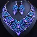 Новый Промоушен Позолоченные Leaf Crystal Ожерелье Серьги Набор для женщин Африканских Свадебные Ювелирные наборы