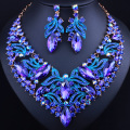 New Promotion Gold Plated Leaf Crystal Necklace Earrings Set for women  African Bridal Jewelry sets
