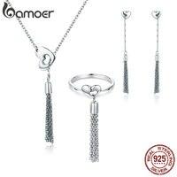 BAMOER 100 Genuine 925 Sterling Silver Sweet Heart Shape Long Chain Tassel Necklace Jewelry Set Silver