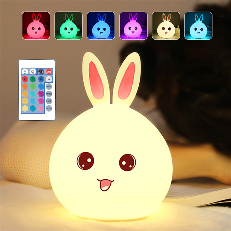 Junejour LED Rabbit Silicone Night Light USB Cartoon Colorful Night Lamp Remote Touch Sensor Bunny Bedside Lamp For Children Kid