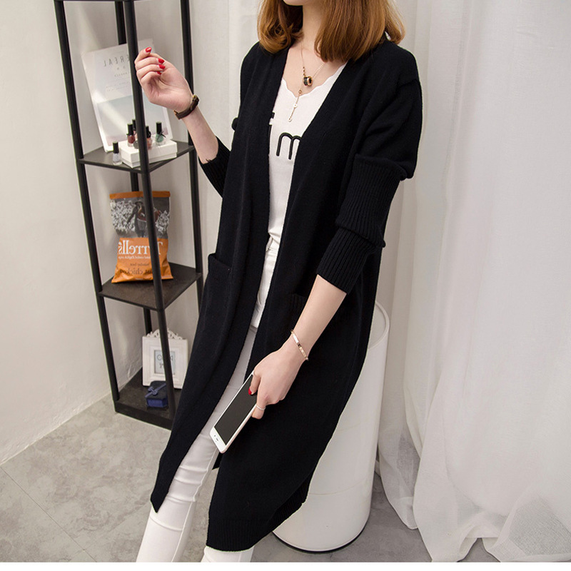 2018 Girl Casual Long Knitted Cardigan Spring Autumn Korean Women Loose Solid Color Pocket Design Slimming Sweater Jacket Black