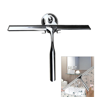 Bathroom stainless steel handle wiper with suction cup base bathroom window glass car cleaning scraper