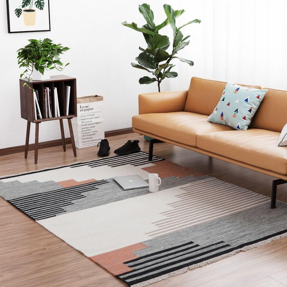 100% wool handmade Carpet geometric Indian black and white ...