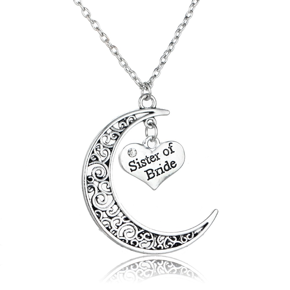 Charm Bride Sister Sis Hollow Moon Heart Crystal Pendant Necklace Rhinestone Family Wedding Women Gift Choker Statement Jewelry