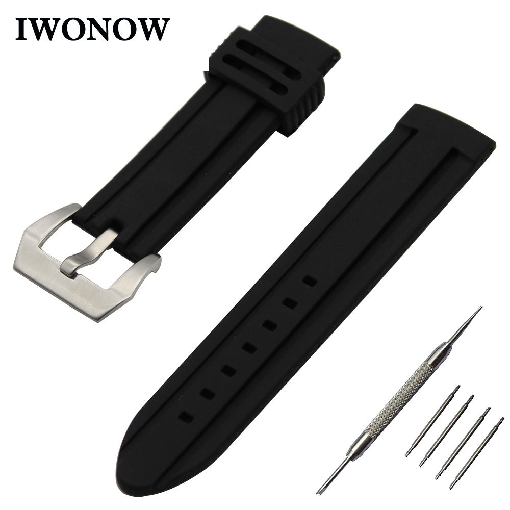 Silicone Rubber Watch Band 22mm for Ticwatch 1 46mm Stainless Steel Pre-v Buckle Strap Wrist Belt Bracelet Black + Spring Bar   Watchbands