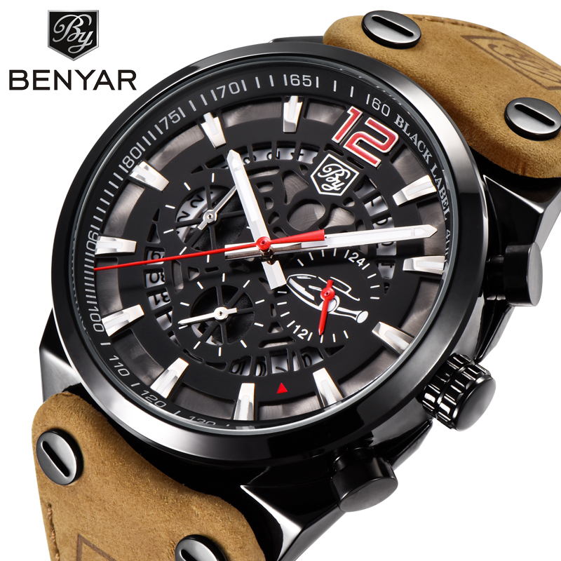 BENYAR Luxury Brand Chronograph Sport Mens Watches Fashion Military Waterproof Leather Quartz Watch Clock Men Relogio Masculino fashion luxury waterproof analog men sport watch chronograph mens leather watches male clock quartz wristwatch relogio masculino