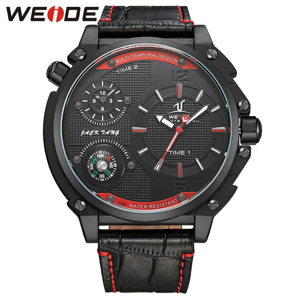 WEIDE Fashion Style Quartz Watch Big Dial Dual Time Zone Analog Display Compass Mens Casual Leather Strap Buckle Hardlex Watches thermometer watch compass watch two time zone display dual movt quartz watch for men oulm 1349