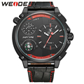 WEIDE Fashion Style Quartz Watch Big Dial Dual Time Zone Analog Display Compass Waterproof Men's Casual Leather Strap Watches