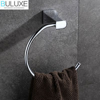 BULUXE Brass Bathroom Accessories Towel Rack Holder Ring Chrome Finished Wall Mounted Bath Acessorios de banheiro HP7721