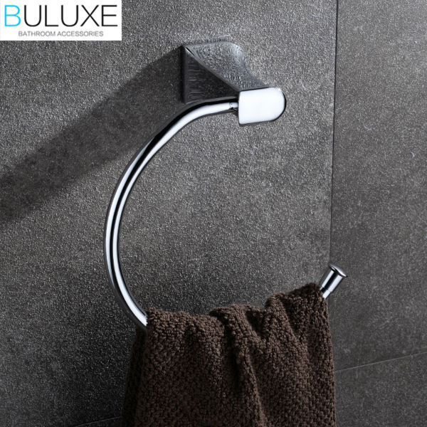 BULUXE Brass Bathroom Accessories Towel Rack Holder Ring Chrome Finished Wall Mounted Bath Acessorios de banheiro HP7721 buluxe brass bathroom accessories towel bar rack holder chrome finished wall mounted bath acessorios de banheiro hp7736