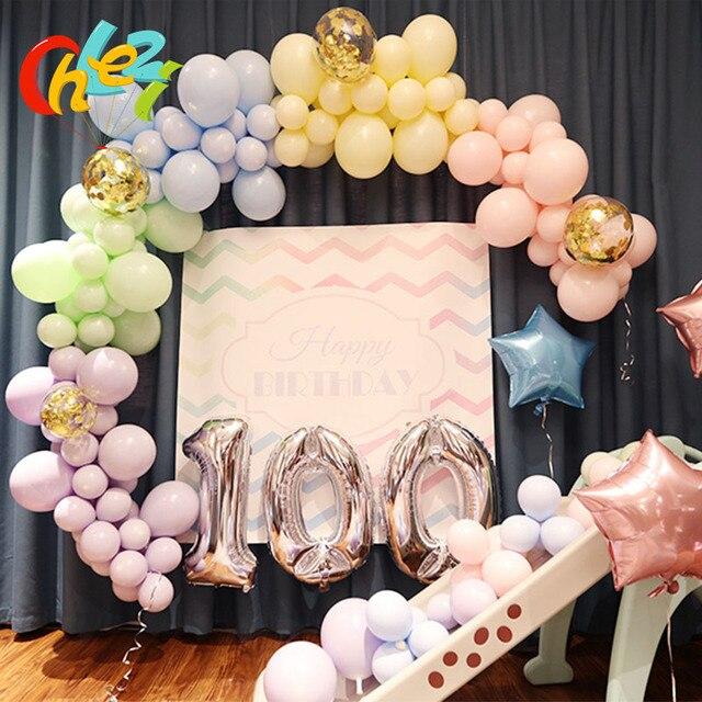 DIY Party Decoration Latex Balloon Wedding Birthday Balloons Macaron Chrome Metal Confetti Marbling Air Arch Chain Ball