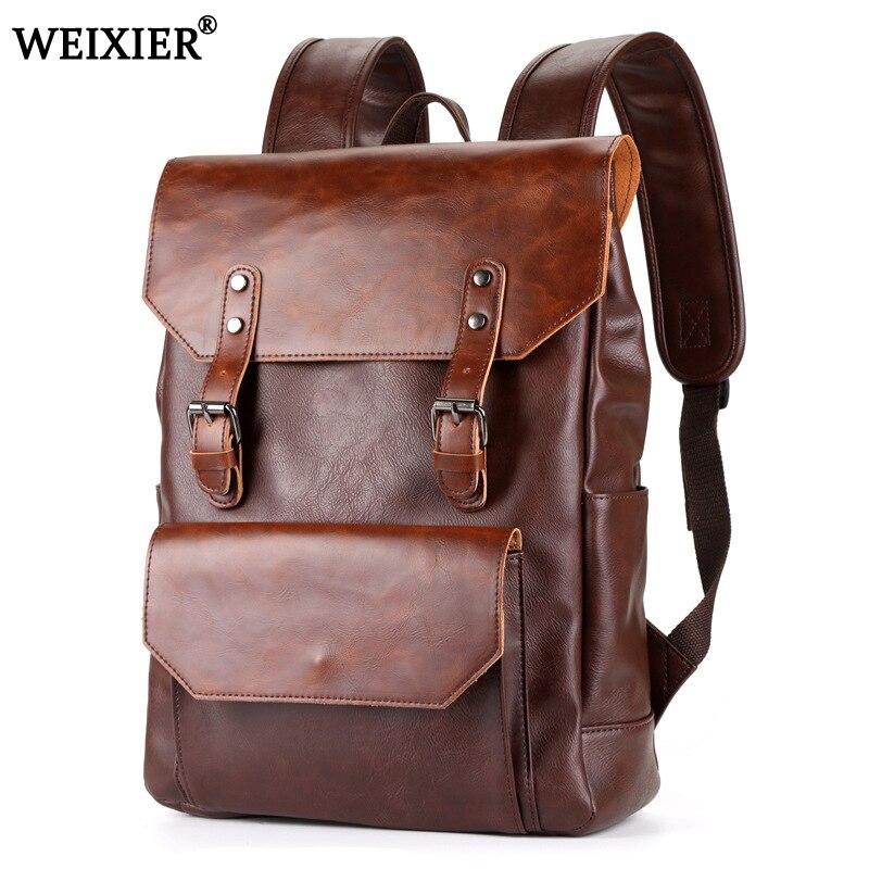 Nouvelle tendance 2019 sac à dos pour hommes sacs en cuir PU hommes sacs à bandoulière mode hommes d'affaires décontracté école garçons Vintage hommes sac à dos