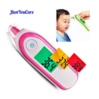Gospodarstwa domowego podczerwieni cyfrowy czoło ucha laserowy termometr do pomiaru temperatury ciała LCD dziecko dorosłych przenośne gorączka temperatura ucha Termometro przenośne tanie i dobre opinie JianYouCare CHINA IRT1 TERMOMETRY Pink blue purple grey green DC3V (2 section AAA alkaline battery)(Not included) Ear temperature Forhead
