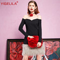 YIGELILA 61241 Последние Новые Женщины Сексуальная Slash Шеи С Плеча Лоскутное Мех Кисточкой Оболочка Black Dress