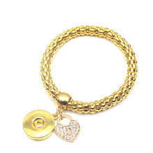 6pcs/lot Gold Elastic Snap Bracelet With Herat Crystal Bracelet For Women Men 18mm Snap Buttons Bracelet&Bangle Jewelry
