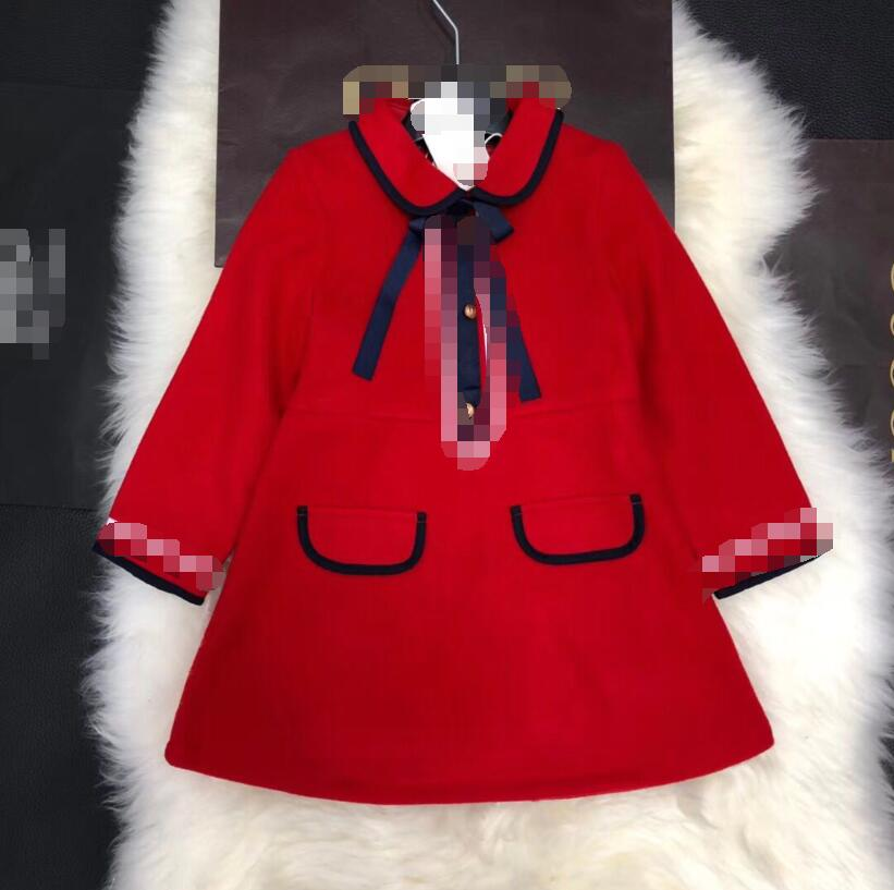 Retail Girls Dress 100-150cm Autumn 2018 CHildren clothes Good quality College style Bow lapel fashion dress 2188A12 notched lapel cold shoulder bodycon dress