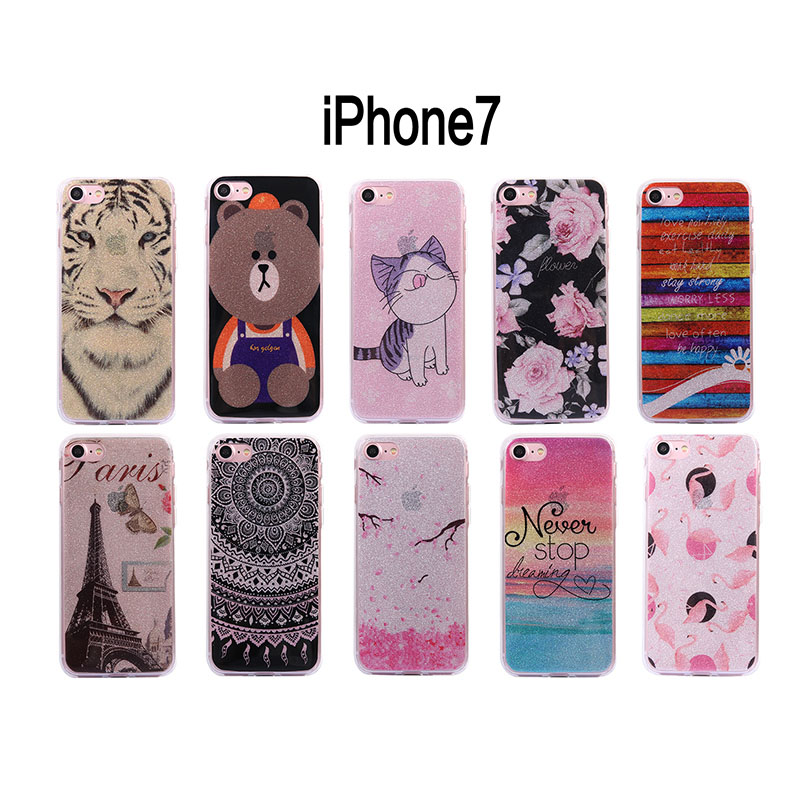 Glitter teddy bear tiger star cat Picture soft silicone TPU for Apple phone cover cases for iphone 5 5s SE 6 6s 7 8 Plus case