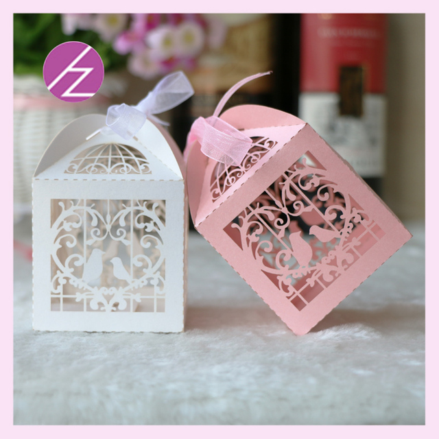50pcs Free Printable Laser Cut Love Birds Wedding Favors Candy Box Party  Decoration Wedding Invitation Baby