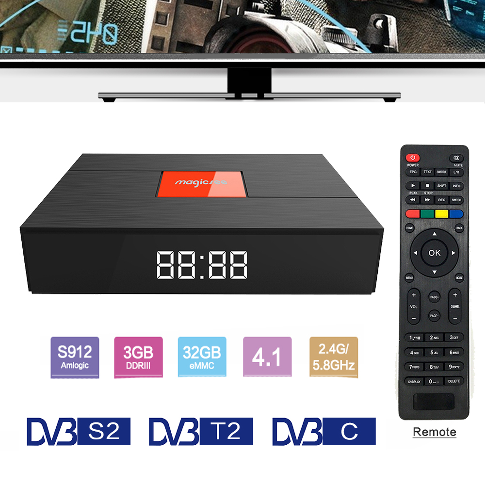 Magicsee C400 Plus Amlogic S912 3 GB 32 GB Android 7.1.2 4 K boîtier de smart tv DVB-S2 DVB-T2 DVB-C Double WiFi pk MECOOL KIII Pro