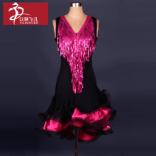 Sleeveless Sequins latin dance dress girls/ ladies latin competition dresses latin ballroom tango dancing costumes