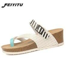 FeiYiTu Women Fashion Cork Sandals 2019 New Summer Beach Wedge Trifle Buckle Strap Platform Shoe Black White Eu 35-40