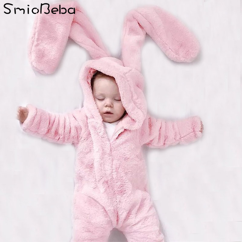 Baby Bunny Costume Romper Infant Toddler Pink Rabbit Autumn Spring Warm Romper Children Halloween Christmas Easter clothing 0-2Y