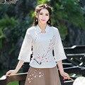 Повседневная Женщины Белый Топы Весна Лето Вышивка Мода Хлопок Белье Рубашка Clothing Новый See Through Блузка Ретро Новый