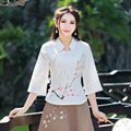 Mulheres casual branco tops primavera verão bordado moda camisa de linho de algodão clothing new ver através blusa retro novo