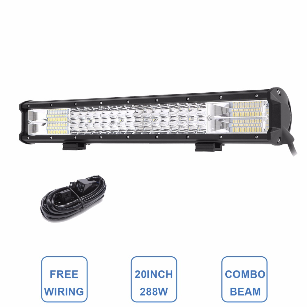 20 Tri Row LED Light Bar Combo 288W LED Work Lamp 12V 24V Truck Trailer Camper